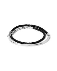 title of work Braided Leather Id Cuff Wrap Bracelet