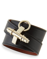 Givenchy Calfskin Leather Wrap Bracelet Black