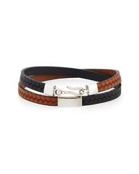 Caputo & Co Embossed Leather Wrap Bracelet