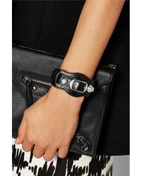 Balenciaga Giant Studded Textured Leather Bracelet