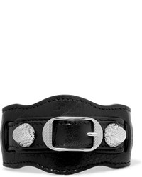 Balenciaga Giant Textured Leather And Silver Tone Bracelet Black
