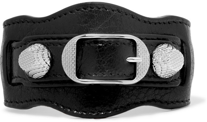 Balenciaga Giant Textured Leather And Silver Tone Bracelet Black