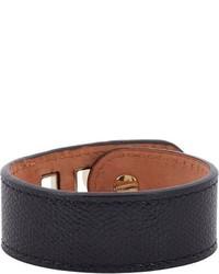 Valextra Grained Leather Bracelet Black