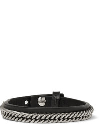 Givenchy Leather And Silver Tone Bracelet