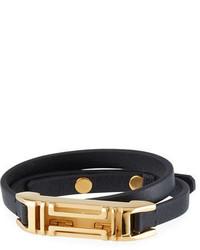 Tory Burch Leather Double Wrap Bracelet