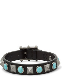 Valentino Leather Silver Tone And Turquoise Bracelet