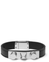 Saint Laurent Leather Silver Tone Bracelet