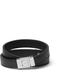 Saint Laurent Leather Silver Tone Wrap Bracelet