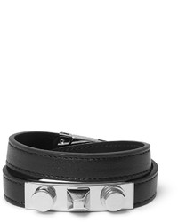 Saint Laurent Leather Silver Tone Wrap Bracelet