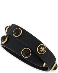 Tory Burch Melodie Double Wrap Leather Bracelet Black