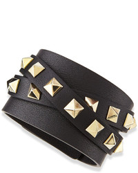 Valentino Multi Wrap Rockstud Leather Bracelet