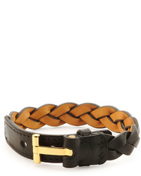Tom Ford Nashville Braided Leather Bracelet Black