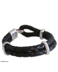 NOVICA Leather Bracelet Nights Paths