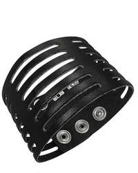 Overstock Genuine Leather Black Labyrinth Bracelet