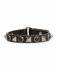 Rockstud rolling noir leather bracelet medium 1149603