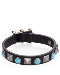Valentino Garavani Rolling Rockstud Leather Bracelet