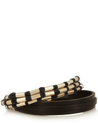 Isabel Marant Set Of Two Leather Cotton And Gold Tone Bracelets