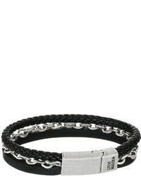Steve Madden Stainless Steel Aged Leather Chain Bracelet Bracelet