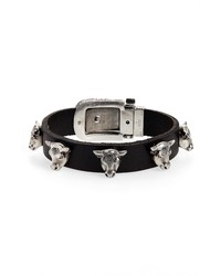 Gucci Sterling Silver Stud Leather Bracelet