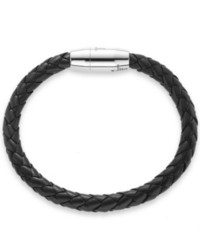 The Fifth Season by Roberto Coin Sterling Silver Bracelet Woven Black Leather Bracelet