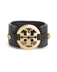 Tory Burch Leather Logo Buckle Bracelet Black