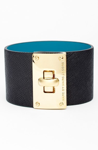 Marc By Jacobs Turnlock Wide Leather Bracelet