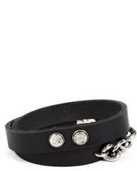 Werkstatt:Munchen Werkstatt Mnchen Leather Double Mixed Bracelet In Black