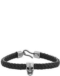 Alexander McQueen Woven Leather And Skull Bracelet