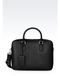 Armani Jeans Briefcase In Logo Patterned Faux Leather
