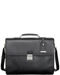 Tumi Astor Dorilton Slim Flap Embossed Leather Briefcase Black