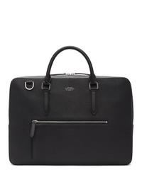 Smythson Black Large Front Zip Briefcase