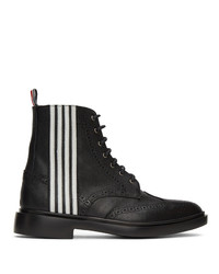 Thom Browne Black 4 Bar Wingtip Boots