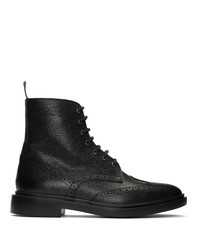 Thom Browne Black Classic Wingtip Boots