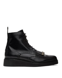 Toga Virilis Black Hard Leather Brogue Boots