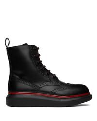 Alexander McQueen Black Hybrid Brogue Boots