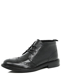 River Island Black Leather Brogue Chukka Boots
