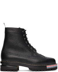Thom Browne Black Longwing Hiking Sole Stripe Lace Up Boots