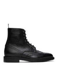 Thom Browne Black Pebble Leather Wingtip Boots