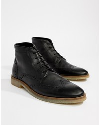 ASOS DESIGN Brogue Boots In Black Leather With Sole