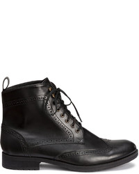 H&M Brogue Patterned Boots Black