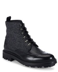 Giorgio Armani Mixed Media Wingtip Leather Boots