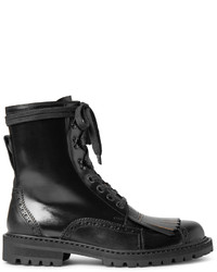 cf16ea9f2894 Dries Van Noten Polished Leather Kiltie Brogue Boots