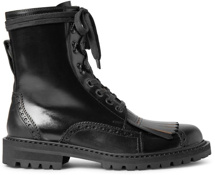 ceec8f80d6ca6d ... Dries Van Noten Polished Leather Kiltie Brogue Boots ...