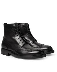 Saint Laurent Polished Leather Wingtip Brogue Boots