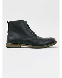 Topman Black Leather Brogue Boots