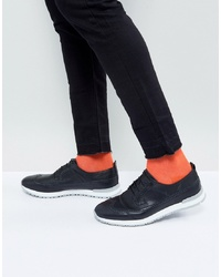 ASOS DESIGN Asos Brogue Shoes In Black Leather With Hybrid Sole