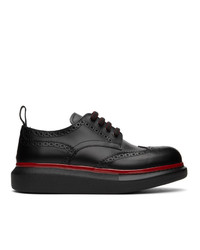 Alexander McQueen Black And Red Hybrid Oversized Brogues