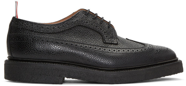 c878ec724a Black Classic Longwing Crepe Sole Brogues. Black Leather Brogues by Thom  Browne