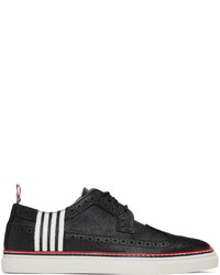 Thom Browne Black Contrast Cupsole 4 Bar Longwing Brogues