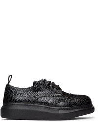 Alexander McQueen Black Croc Lace Up Brogues